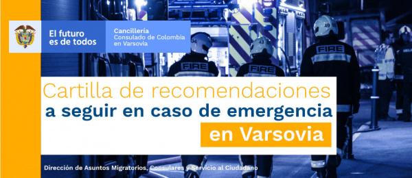 Cartilla de recomendaciones a seguir en caso de emergencia en Varsovia