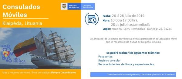 Consulado de Colombia en Varsovia realizará la jornada móvil del 26 al 28 julio de 2019 en la ciudad de Klaipėda