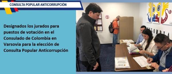 Designados los jurados para puestos de votación en el Consulado de Colombia en Varsovia para la elección de Consulta Popular Anticorrupción de 2018