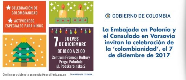 La Embajada en Polonia y el Consulado en Varsovia invitan la celebración de la 'colombianidad', el 7 de diciembre de 2017