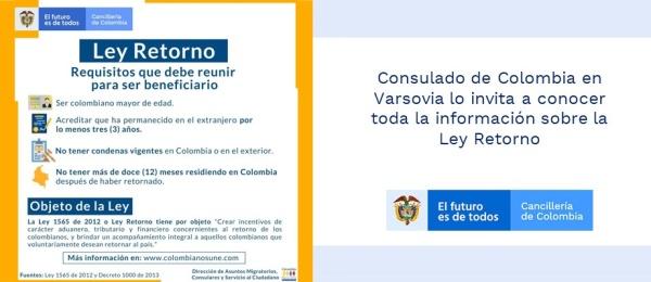 Consulado de Colombia en Varsovia lo invita a conocer toda la información sobre la Ley Retorno